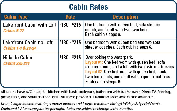 Nashville Shores Cabin Rates
